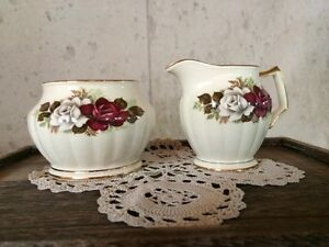 Vintage Sadler Red White Rose Creamer & Sugar Bowl, Antique Rose