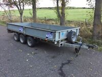IFOR Williams LM146G3 14ft flatbed 3.5T triple axle dropside flatbed trailer with ramps