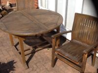 Cyan Teak Octagonal Table and Two Chairs