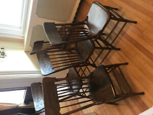 6 press back dining room chairs, $100.00