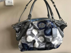 Authentic Grey & Blue Coach Handbag with Removable Strap