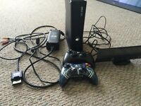 Xbox 360 with controllers, Kinect, and games