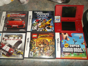Nintendo DS with case and 6 games