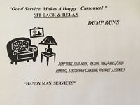 DUMP RUNS, EXTRA LARGE LOADS,raking,tree/shed/fence removal,pain
