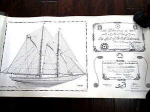 "42x22"" signed plates BLUENOSE II 1st ED Last of the Tall Ships"