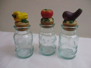 Vintage Italian Glass Spice Jars w/ Sculpted Vegetable Lids