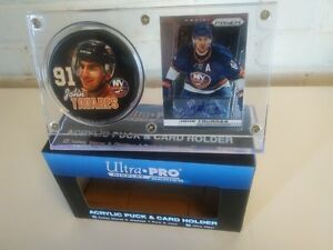 Autographed John Tavares Islanders Card Puck & Card in holder