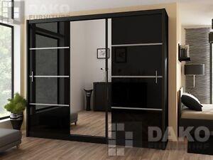 Brand New Modern Bedroom Sliding Door Wardrobe With Mirror VISTA BLACK GLOSS