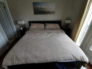 king size bedframe and 2 night table