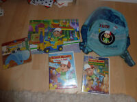 handy manny, 2 DVDs, board book, puzzle and backpack.