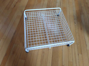 Rolling under bed basket, heavy white plastic coated wire Sarnia Sarnia Area image 2