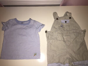 Peter Rabbit shirt with overall set 6-12  month