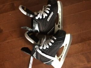 Youth size 10 and size 11 skates, lg pants, shin guards 8 and 9