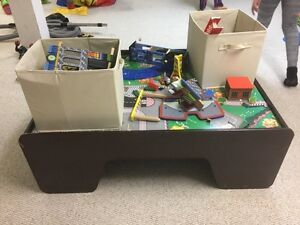 Train table with two bins of miscellaneous pieces/tracks. Kingston Kingston Area image 3