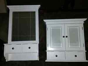 Matching white bathroom cabinets