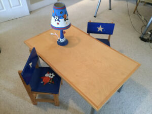 Children's Activity Table, 2 Chairs & Lamp (Boys Sports Theme)