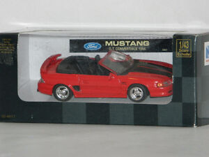 New Ray 1/43 1994 Ford Mustang GT Convertible Diecast Car Red