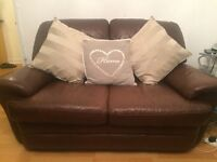 For sale excellent condition three seater and two seater brown sofa