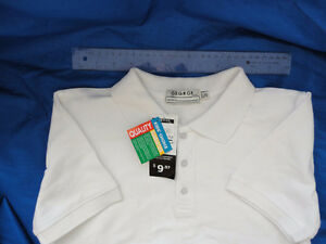 White short sleeve polo -clean,new with tags,youth large sz10-12