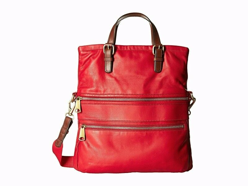 FOSSIL EXPLORER LEATHER TOTE - CRANBERRY