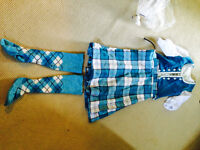 size 12 teal kilt/vest and socks and blouse