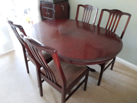 Stag extendable dining table + 4 chairs