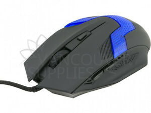 Blue LED 6 Button Optical USB Gaming Wired Mouse for PC Laptop