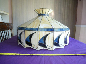 X-LARGE ANTIQUE STAINED GLASS TIFFANY STYLE HANGING LAMP/SHADE