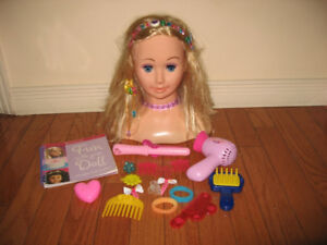 Doll Styling Head Hairdressing Model Play Set w/Accessories