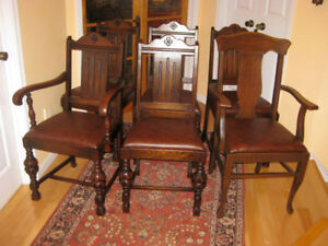 6 Great Condition Antique Solid  Oak Wood Dining Chairs, Buffet