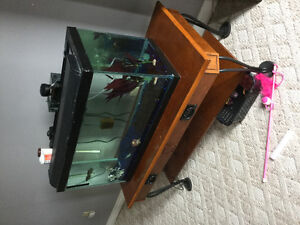 15 gallon aquarium with many accessories and stand