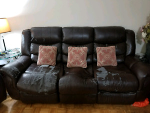 Leather Recliner sofa, love seat and rocking chair
