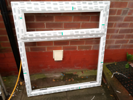 Pvc window, white with obscure glass.