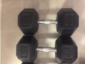 Pair of 60lb dumbbells for sale