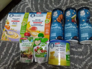 baby food (Gerber snacks, rice cereal, fruit packet)
