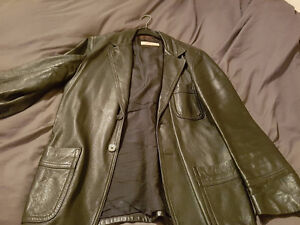 2 Leather Coats - Black leather coat & brown leather trench coat