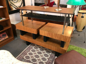 Mid century modern teak coffee table side end tables