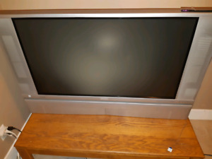 Older flat screen and coffee table