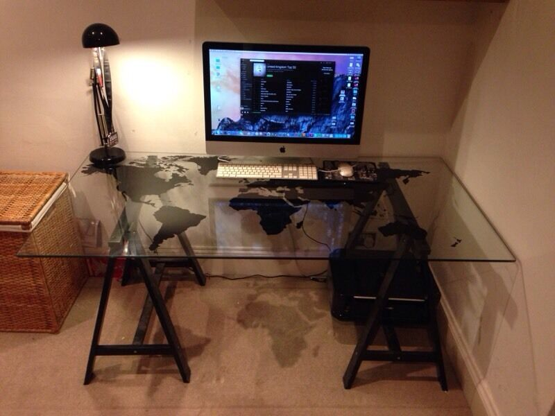 Ikea Glass World Map Desk