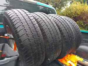 4 245/70R16 Goodyear Wrangler SR-A on Dodge 5x5.5 steel rims.