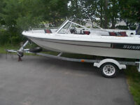 for sale 1988 sunray 17ft boat and trailer