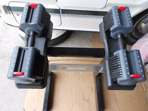 Mileage Fitness adjustable dumbbells 5lbs - 55lbs with stand