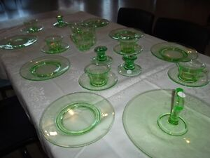 Green Vaseline Glass - assorted pieces