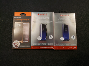 Brand new Samsung S8 case and glass screen protectors