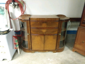 Antique rounded glass side doors buffet.