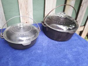 Set of 2 Vintage wagner ware cast iron dutch oven 2 Qt and 5 Qt
