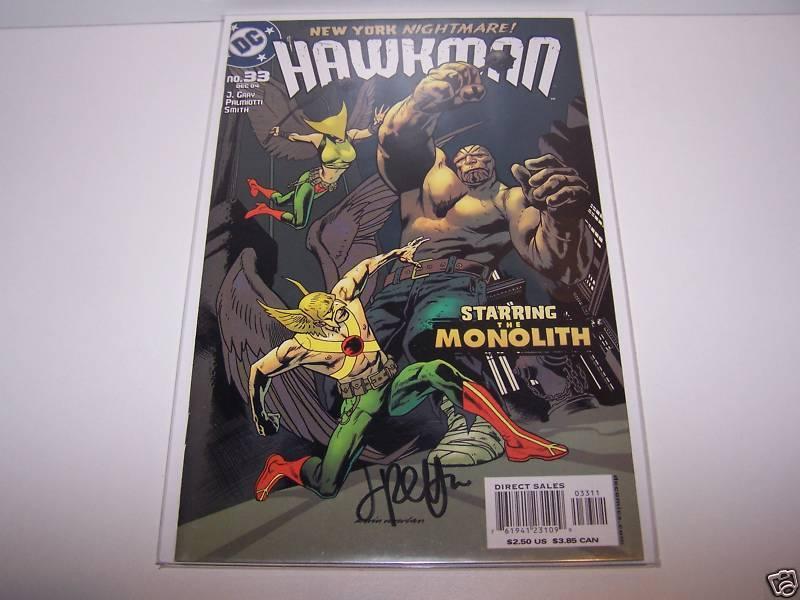 SIGNED JIM PALMIOTTI HAWKMAN #33 HAWKGIRL WITH MONOLITH