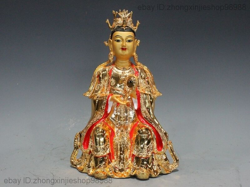 "12""Chinese Bronze painted Gilt Empress Head phoenix coronet Kwan-Yin Statue"