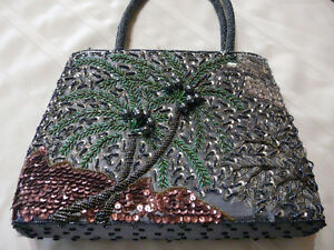 Beautiful Bead and Sequin Purse Palm Tree Design.