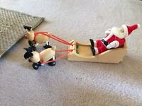 Wooden Santa with sledge and 2 reindeers